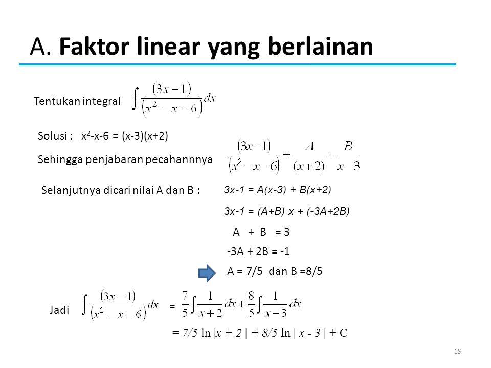 A. Faktor linear yang berlainan