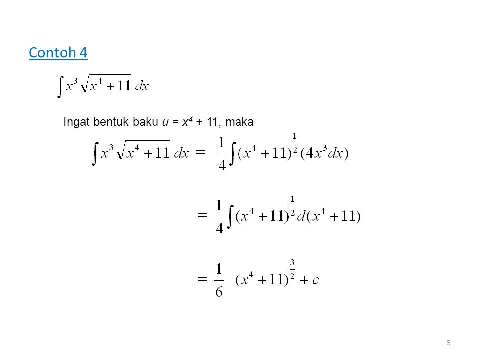 Contoh 4 Ingat bentuk baku u = x4 + 11, maka