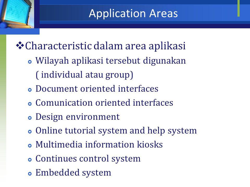 Application Areas Characteristic dalam area aplikasi