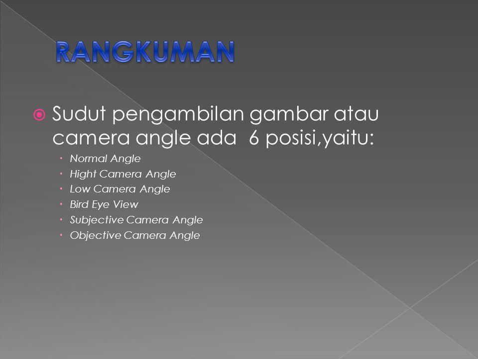 RANGKUMAN Sudut pengambilan gambar atau camera angle ada 6 posisi,yaitu: Normal Angle. Hight Camera Angle.