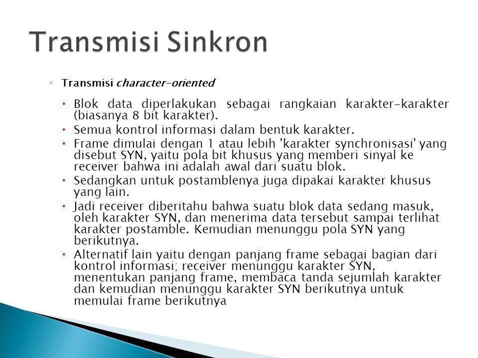 Transmisi Sinkron Transmisi character-oriented. Blok data diperlakukan sebagai rangkaian karakter-karakter (biasanya 8 bit karakter).