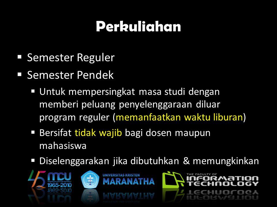 Perkuliahan Semester Reguler Semester Pendek