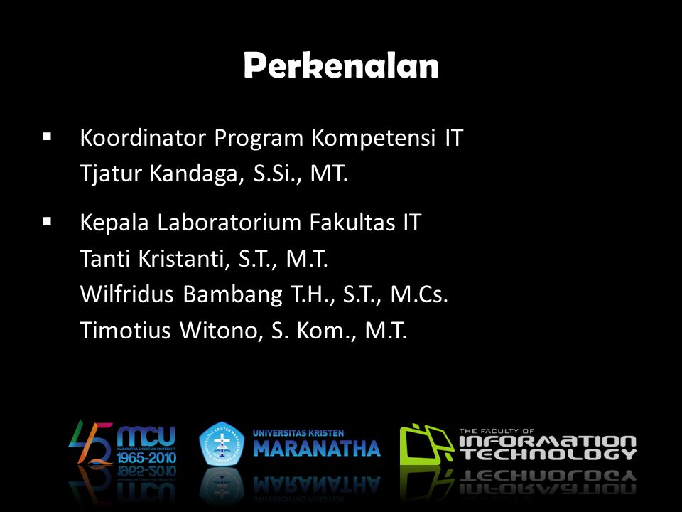 Perkenalan Koordinator Program Kompetensi IT