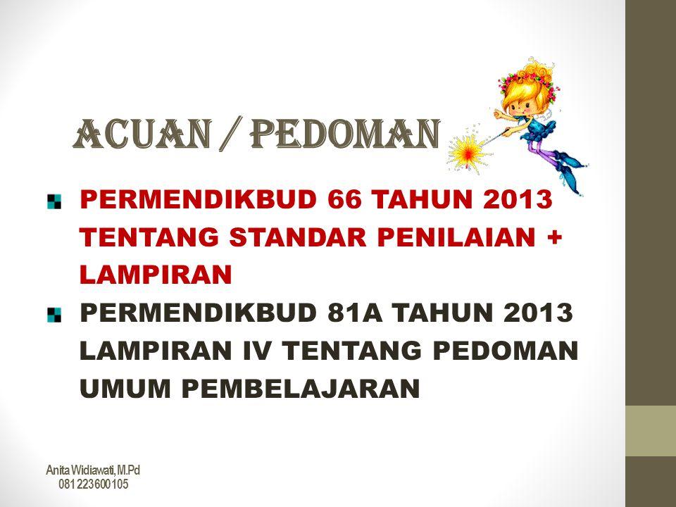 ACUAN / PEDOMAN PERMENDIKBUD 66 TAHUN 2013 TENTANG STANDAR PENILAIAN +