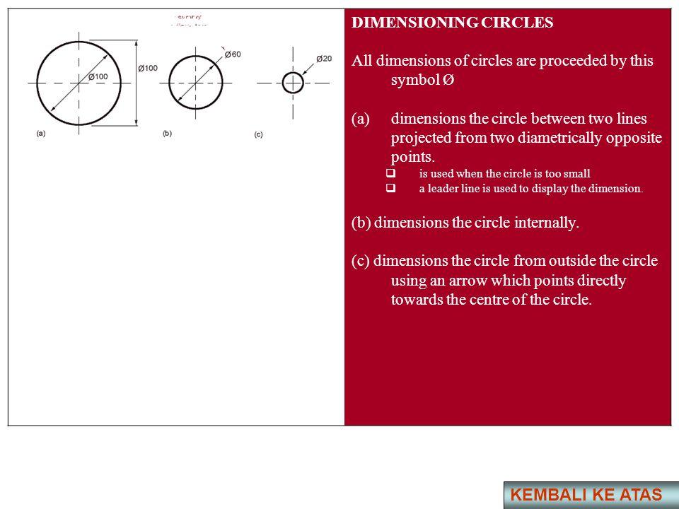 KEMBALI KE ATAS DIMENSIONING CIRCLES