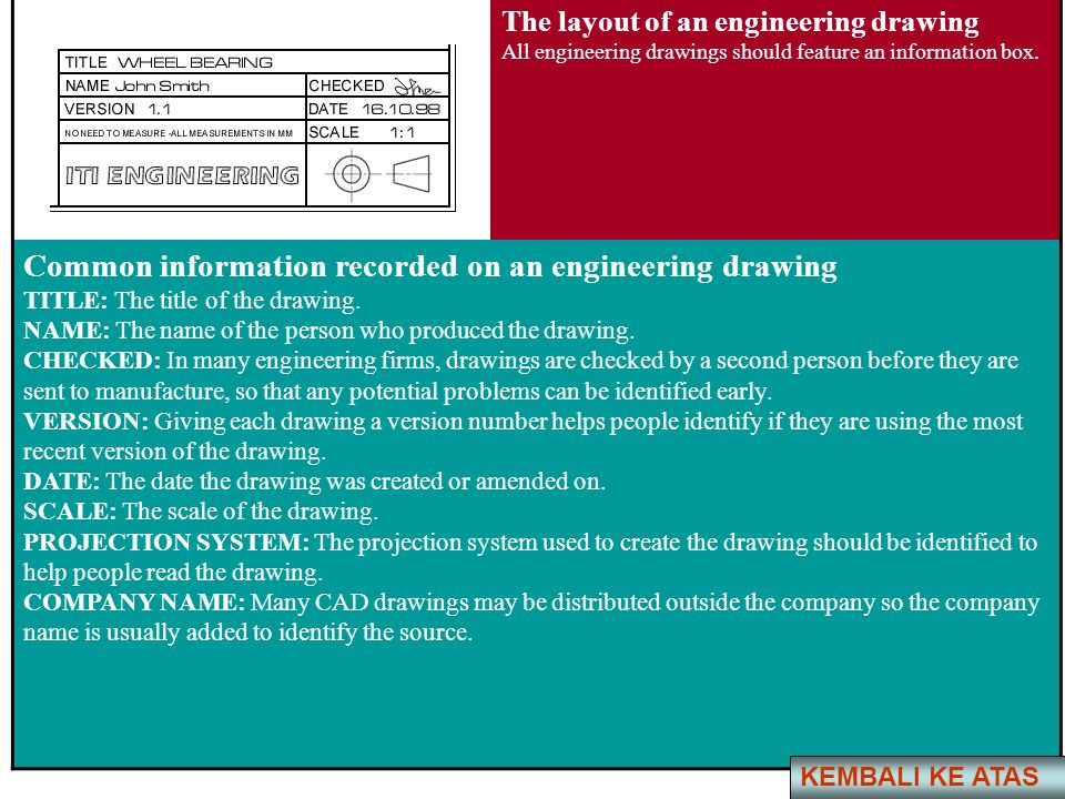 Common information recorded on an engineering drawing
