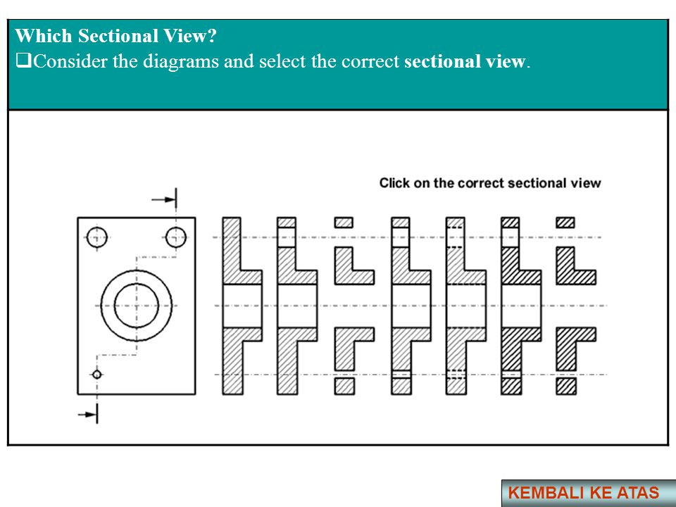 Consider the diagrams and select the correct sectional view.