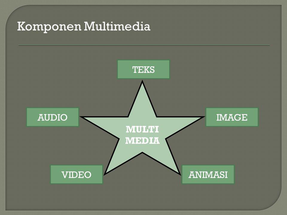 Komponen Multimedia TEKS MULTIMEDIA AUDIO IMAGE VIDEO ANIMASI
