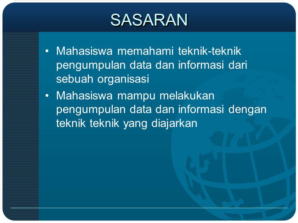 SASARAN Mahasiswa memahami teknik-teknik pengumpulan data dan informasi dari sebuah organisasi.