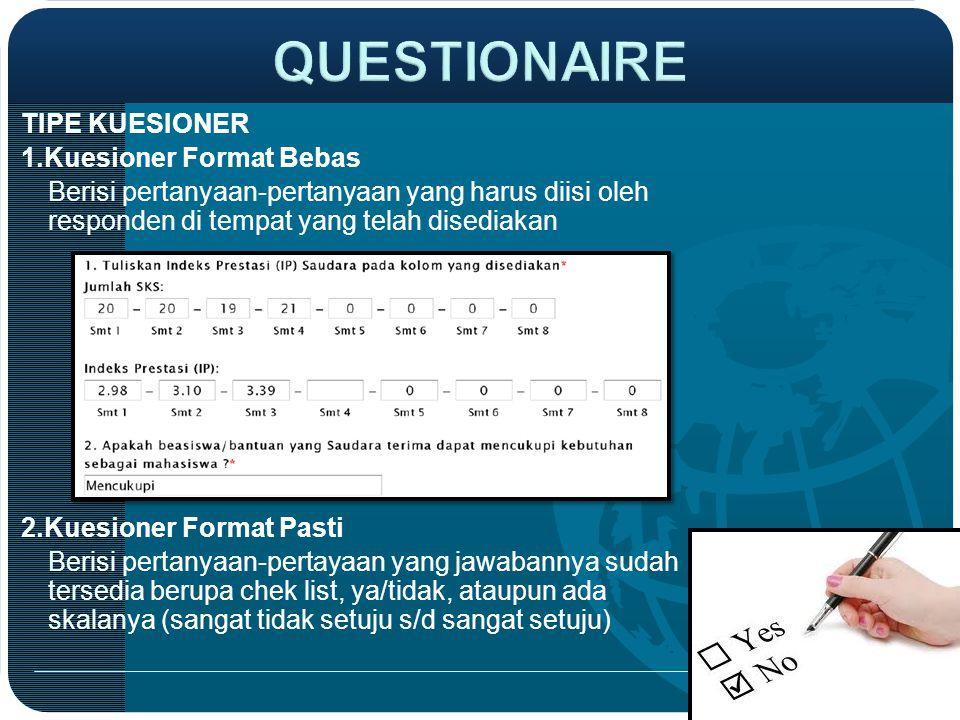 QUESTIONAIRE TIPE KUESIONER 1.Kuesioner Format Bebas