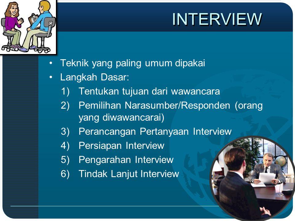 INTERVIEW Teknik yang paling umum dipakai Langkah Dasar: