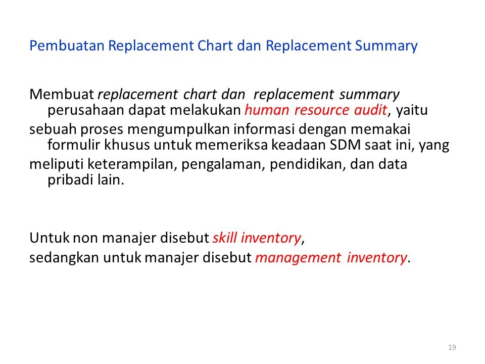 Pembuatan Replacement Chart dan Replacement Summary