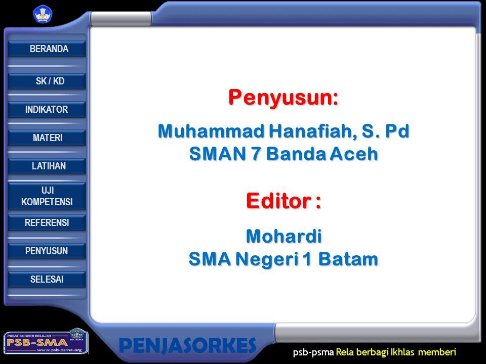 Penyusun: Editor : Muhammad Hanafiah, S. Pd SMAN 7 Banda Aceh Mohardi