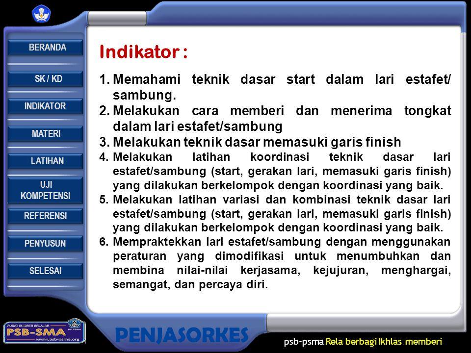 Indikator : Memahami teknik dasar start dalam lari estafet/ sambung.