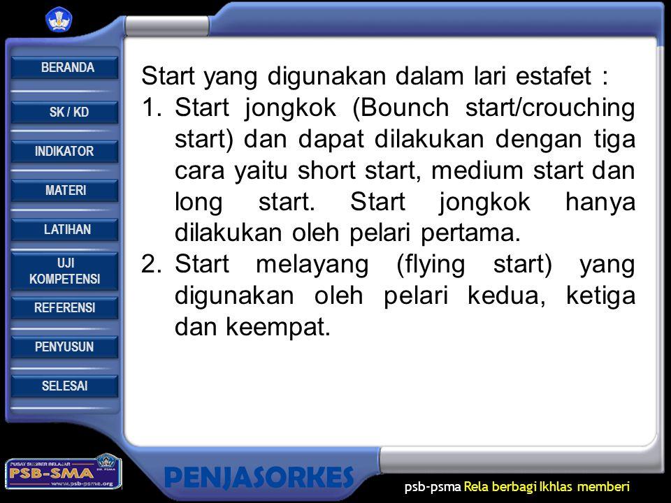 Start yang digunakan dalam lari estafet :