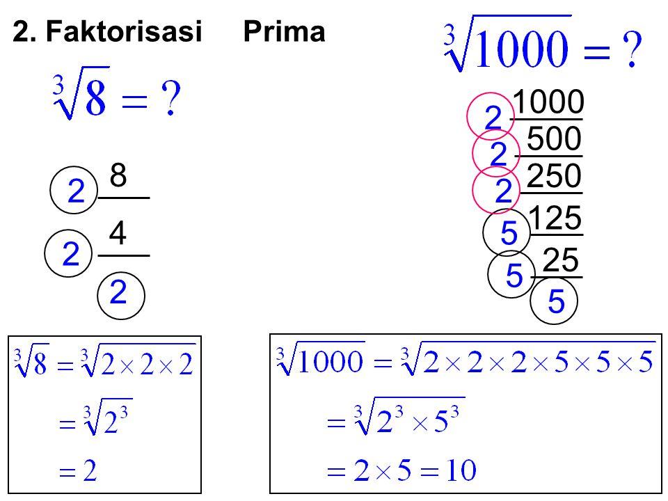 2. Faktorisasi Prima 1000 2 500 2 8 250 2 2 125 4 5 2 25 5 2 5