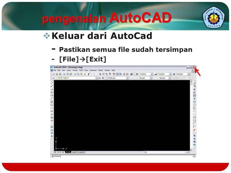pengenalan AutoCAD Keluar dari AutoCad