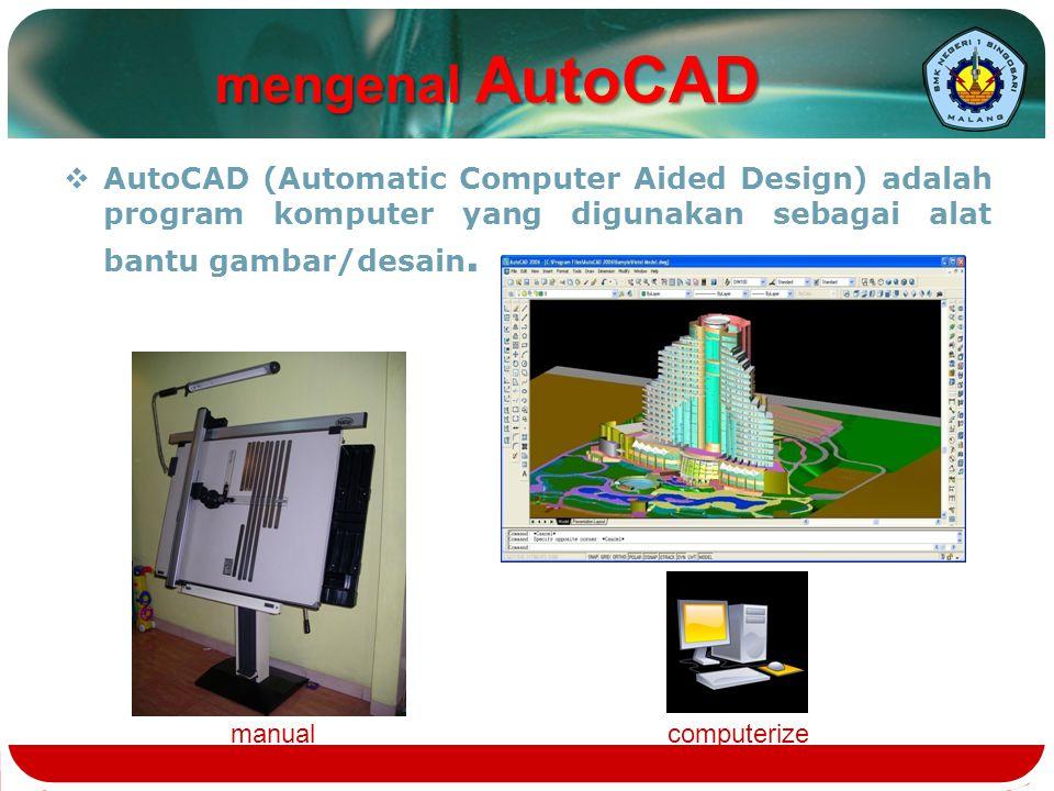 mengenal AutoCAD AutoCAD (Automatic Computer Aided Design) adalah program komputer yang digunakan sebagai alat bantu gambar/desain.