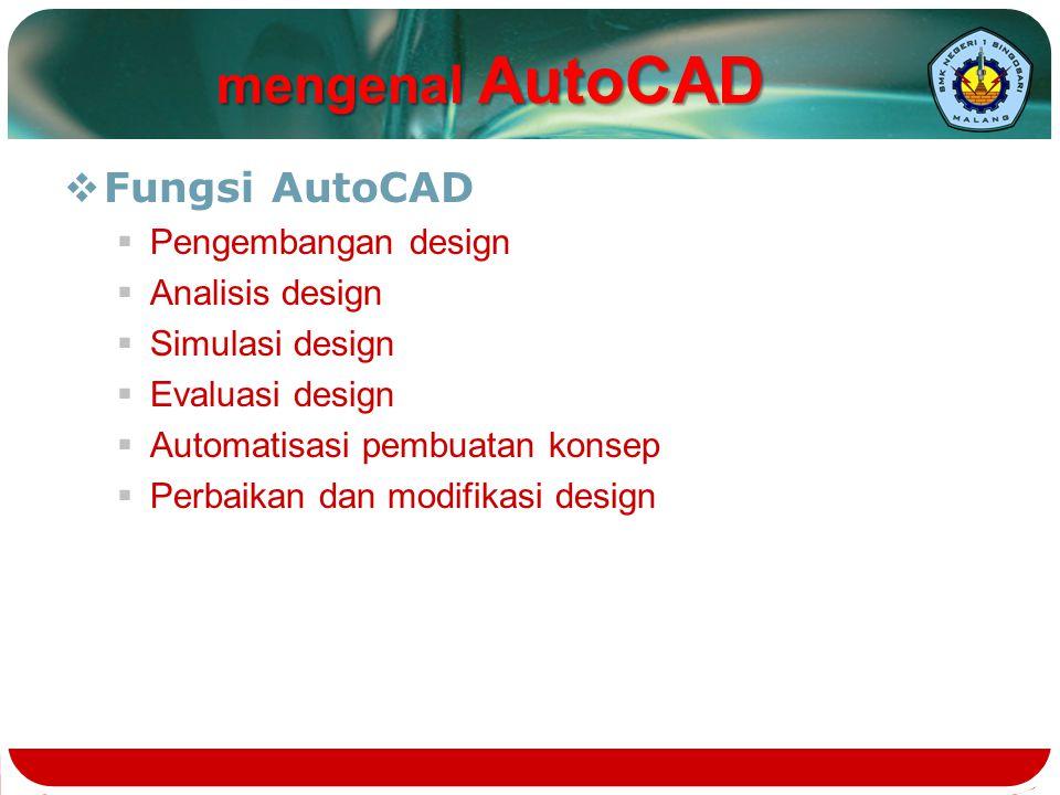 mengenal AutoCAD Fungsi AutoCAD Pengembangan design Analisis design