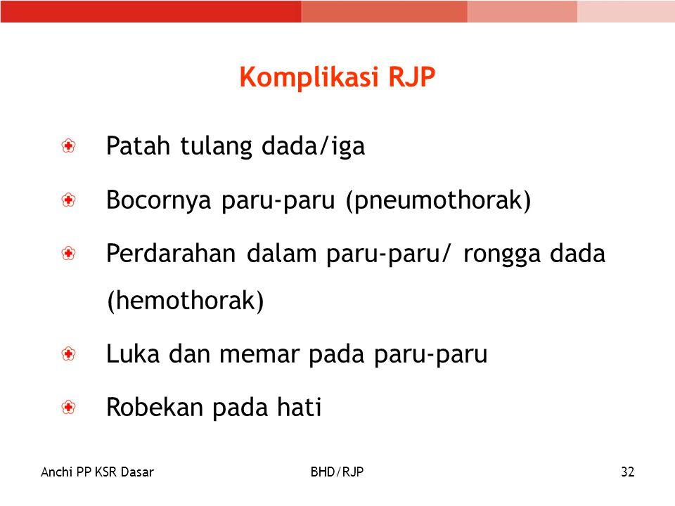 Komplikasi RJP Patah tulang dada/iga Bocornya paru-paru (pneumothorak)