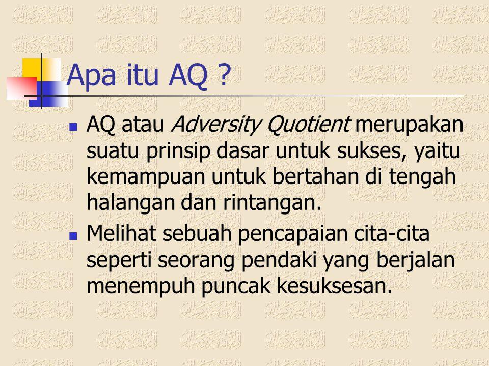 Apa itu AQ AQ atau Adversity Quotient merupakan suatu prinsip dasar untuk sukses, yaitu kemampuan untuk bertahan di tengah halangan dan rintangan.