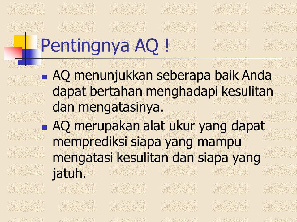 Pentingnya AQ ! AQ menunjukkan seberapa baik Anda dapat bertahan menghadapi kesulitan dan mengatasinya.
