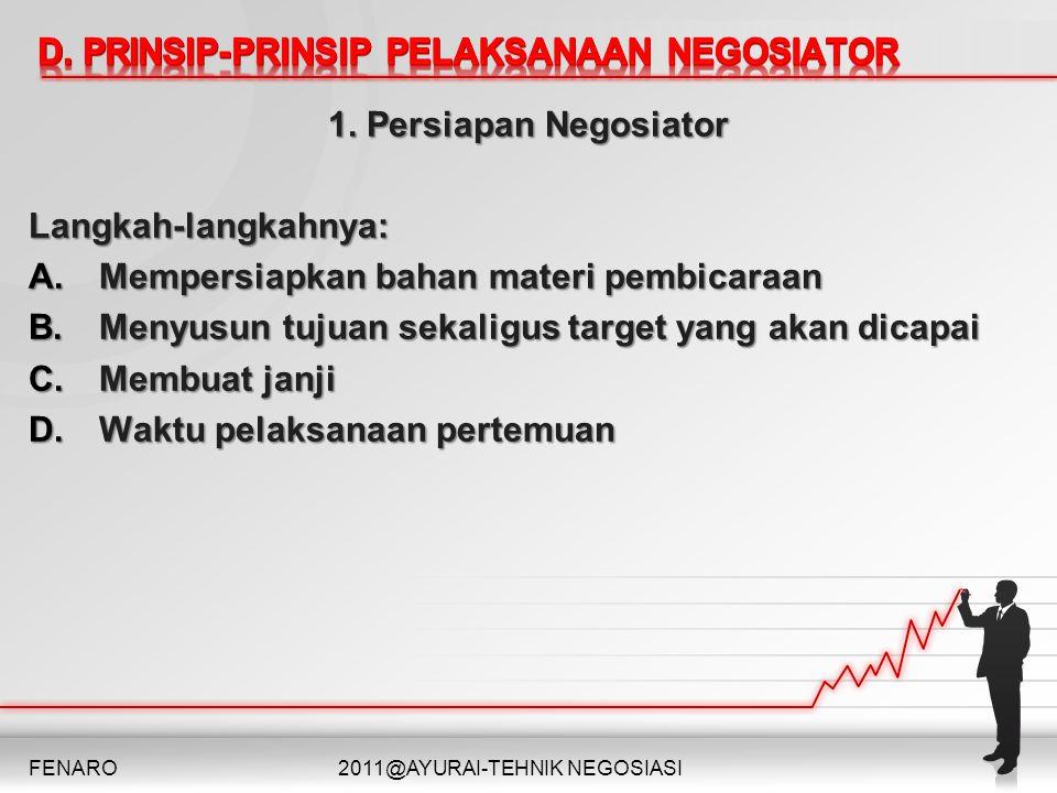 D. PRINSIP-PRINSIP PELAKSANAAN NEGOSIATOR