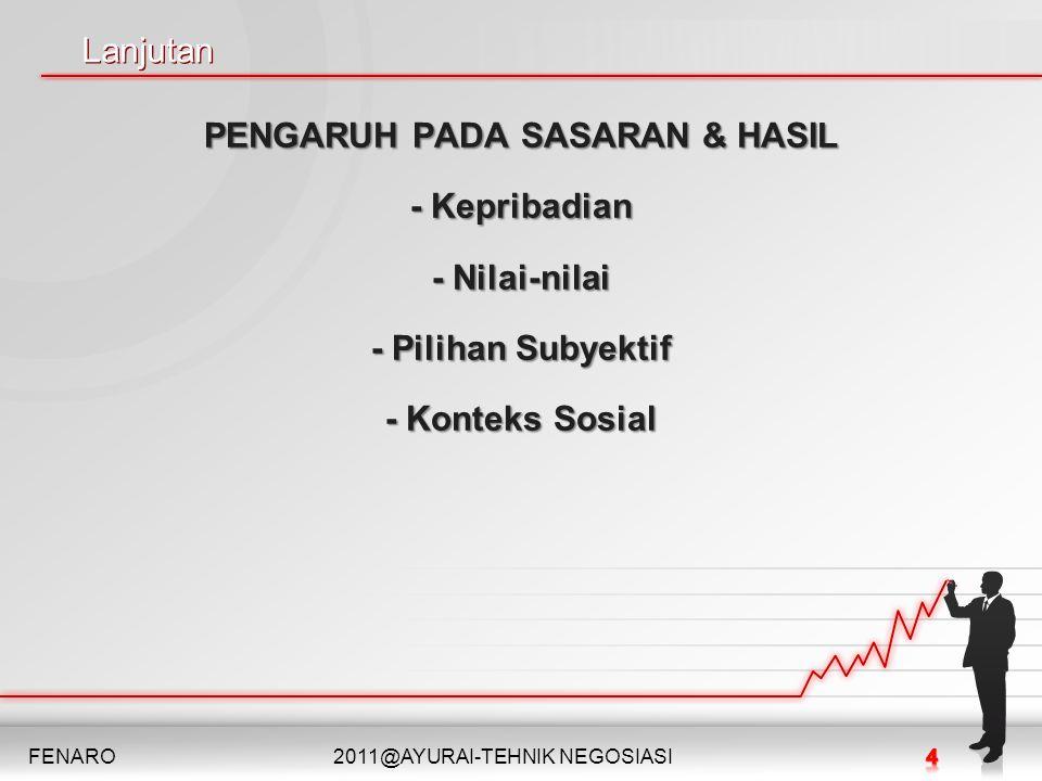 PENGARUH PADA SASARAN & HASIL