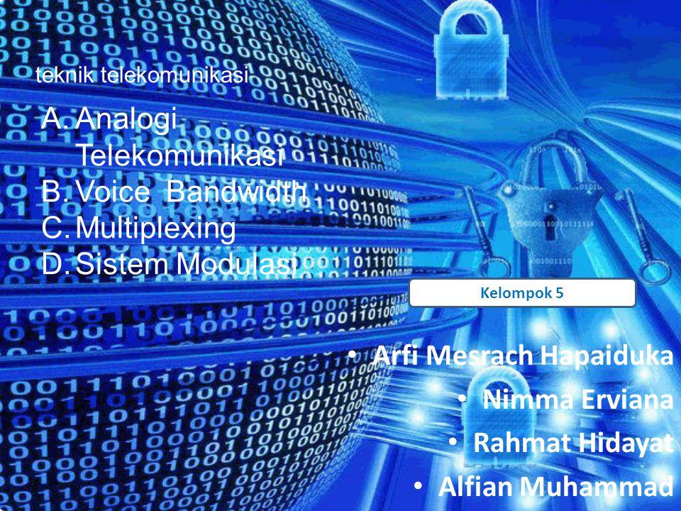 Analogi Telekomunikasi Voice Bandwidth Multiplexing Sistem Modulasi