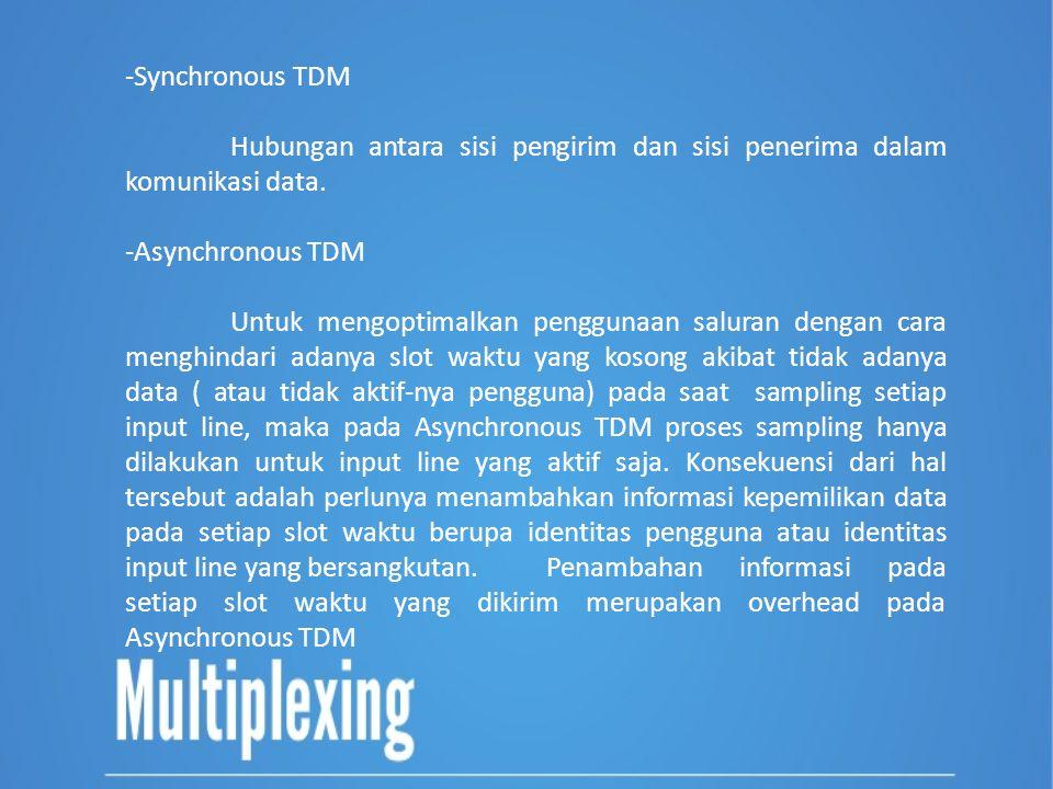 Synchronous TDM Hubungan antara sisi pengirim dan sisi penerima dalam komunikasi data. Asynchronous TDM.