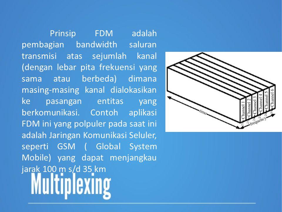 Prinsip FDM adalah pembagian bandwidth saluran transmisi atas sejumlah kanal (dengan lebar pita frekuensi yang sama atau berbeda) dimana masing-masing kanal dialokasikan ke pasangan entitas yang berkomunikasi.