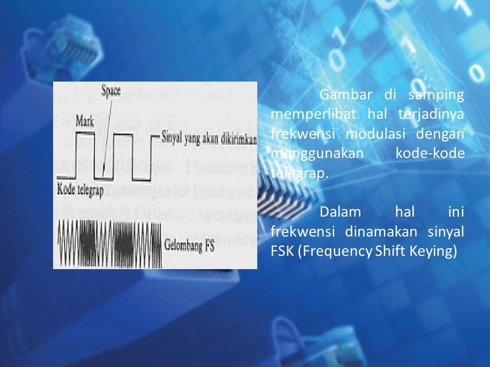 Gambar di samping memperlihat hal terjadinya frekwensi modulasi dengan menggunakan kode-kode telegrap.