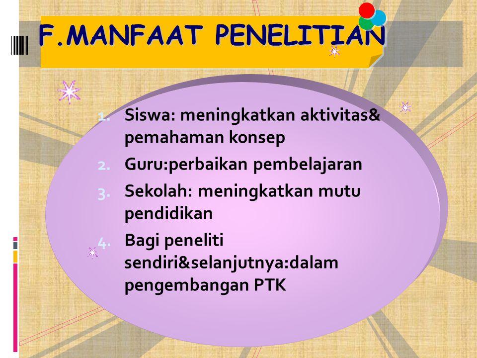 F.MANFAAT PENELITIAN Siswa: meningkatkan aktivitas& pemahaman konsep