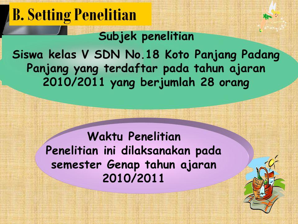 Penelitian ini dilaksanakan pada semester Genap tahun ajaran 2010/2011