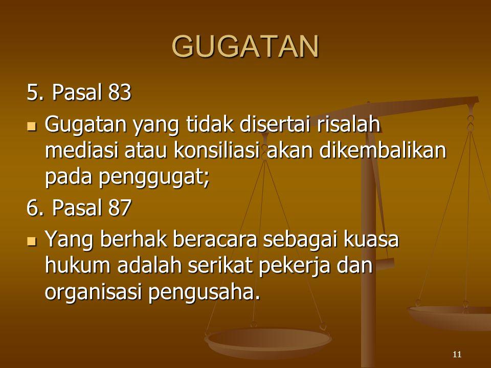 GUGATAN 5. Pasal 83. Gugatan yang tidak disertai risalah mediasi atau konsiliasi akan dikembalikan pada penggugat;