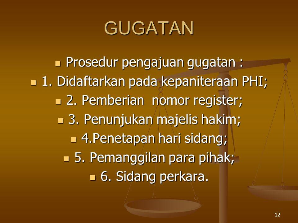 GUGATAN Prosedur pengajuan gugatan :