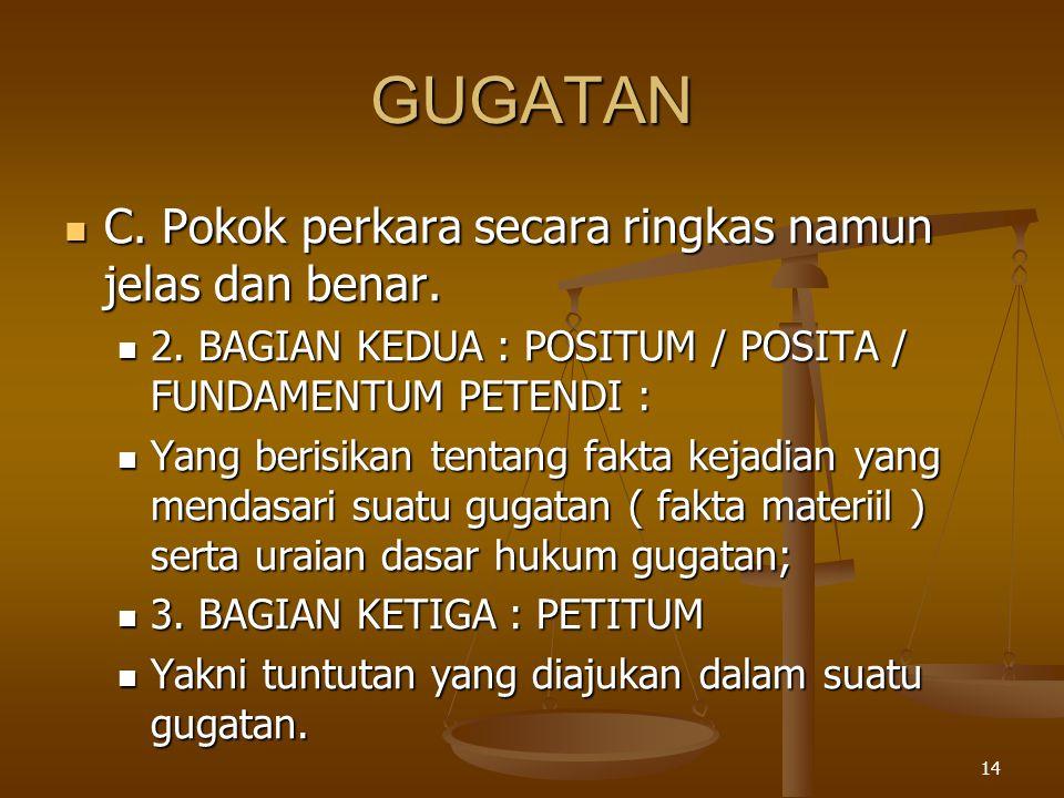 GUGATAN C. Pokok perkara secara ringkas namun jelas dan benar.