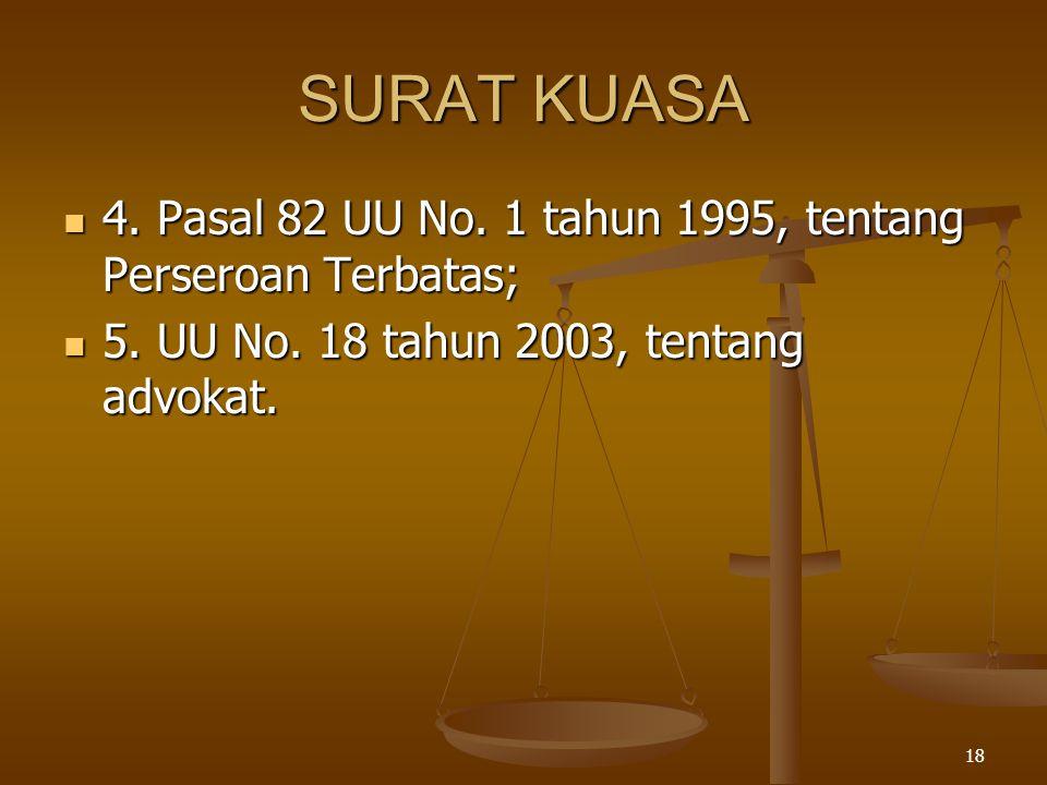 SURAT KUASA 4. Pasal 82 UU No. 1 tahun 1995, tentang Perseroan Terbatas; 5.