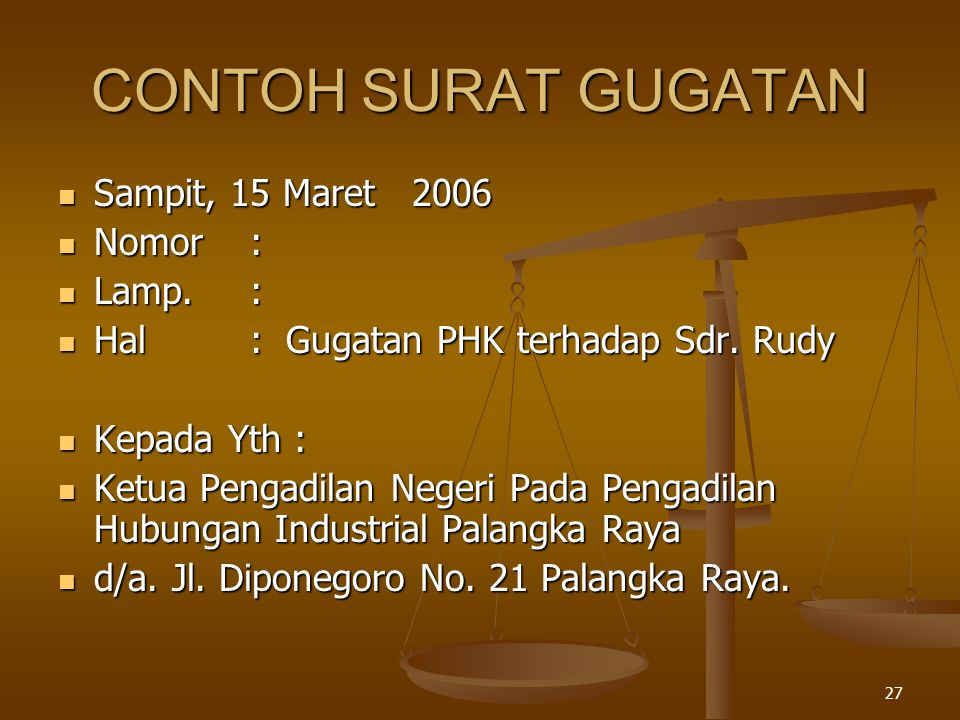 CONTOH SURAT GUGATAN Sampit, 15 Maret 2006 Nomor : Lamp. :