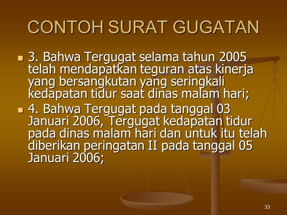 CONTOH SURAT GUGATAN