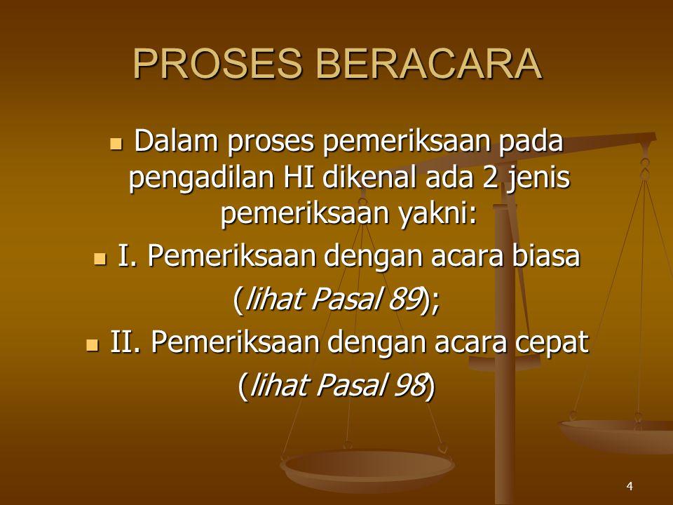 PROSES BERACARA Dalam proses pemeriksaan pada pengadilan HI dikenal ada 2 jenis pemeriksaan yakni: I. Pemeriksaan dengan acara biasa.