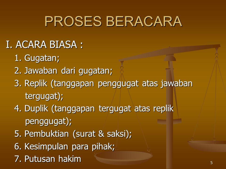 PROSES BERACARA I. ACARA BIASA : 1. Gugatan; 2. Jawaban dari gugatan;