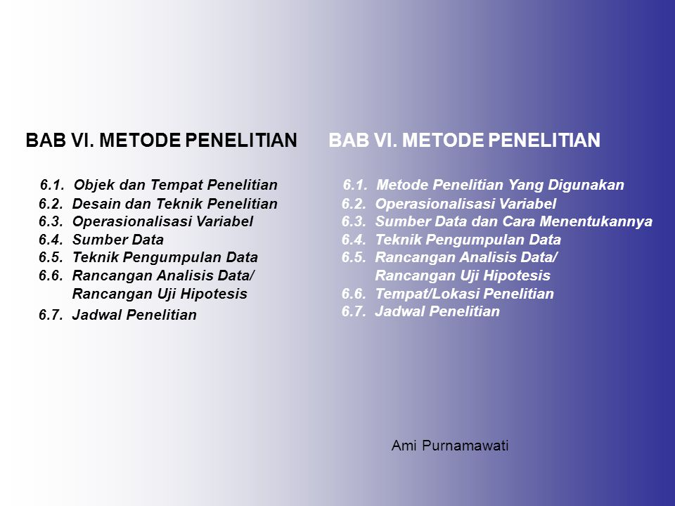 BAB VI. METODE PENELITIAN BAB VI. METODE PENELITIAN