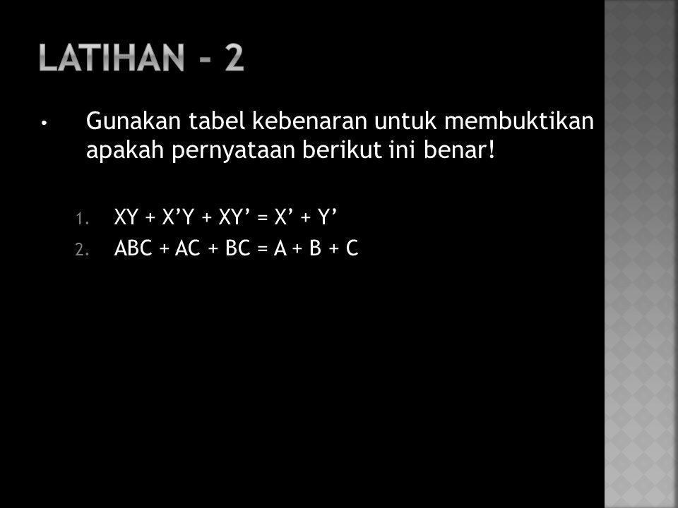 Latihan - 2 Gunakan tabel kebenaran untuk membuktikan apakah pernyataan berikut ini benar! XY + X'Y + XY' = X' + Y'