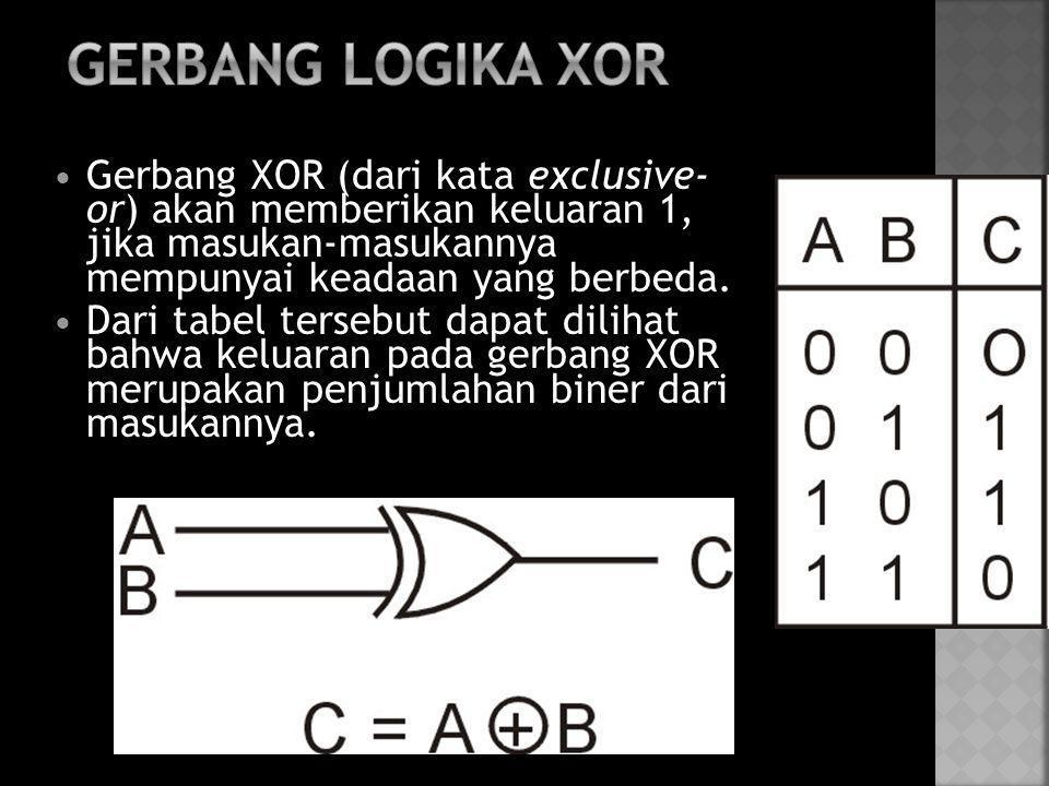 GERBANG LOGIKA XOR Gerbang XOR (dari kata exclusive- or) akan memberikan keluaran 1, jika masukan-masukannya mempunyai keadaan yang berbeda.