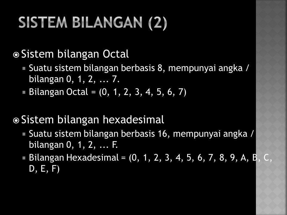 Sistem Bilangan (2) Sistem bilangan Octal Sistem bilangan hexadesimal