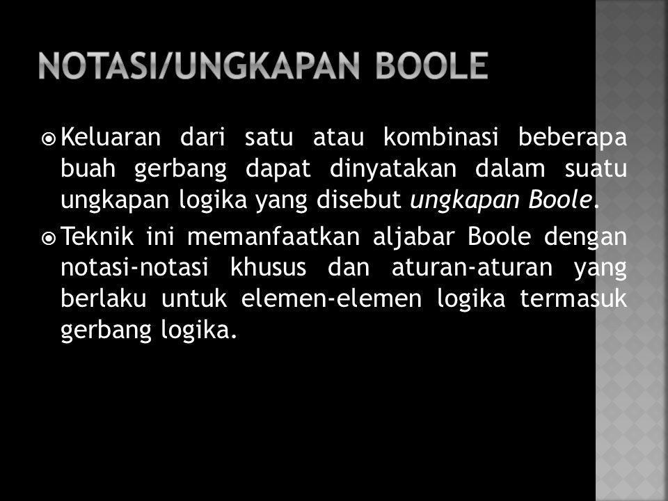 NOTASI/UNGKAPAN BOOLE