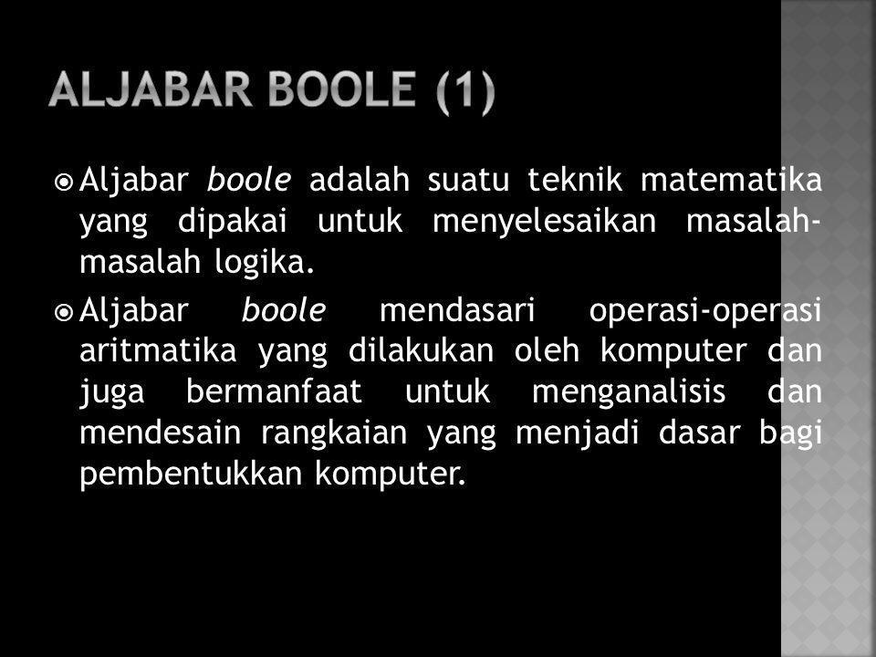 ALJABAR BOOLE (1) Aljabar boole adalah suatu teknik matematika yang dipakai untuk menyelesaikan masalah- masalah logika.