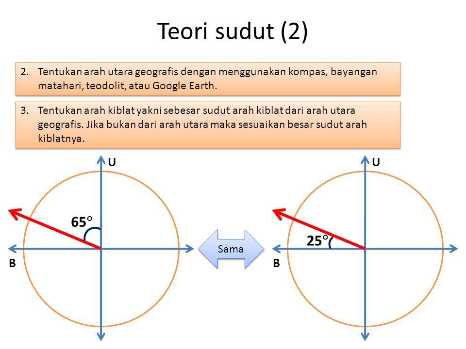 Teori sudut (2) Tentukan arah utara geografis dengan menggunakan kompas, bayangan matahari, teodolit, atau Google Earth.