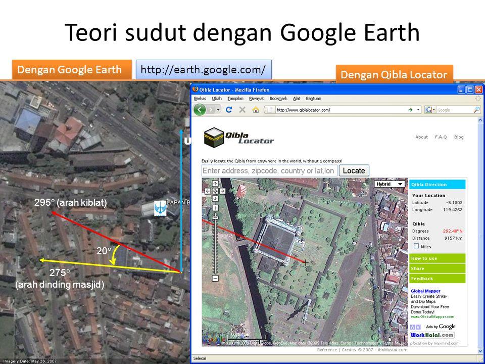 Teori sudut dengan Google Earth